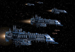 Part of the Cereberos Fleet in motion.